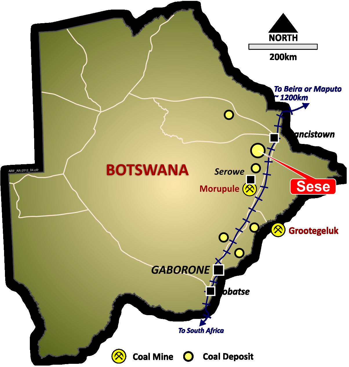 Sese Coal Botswana-Location