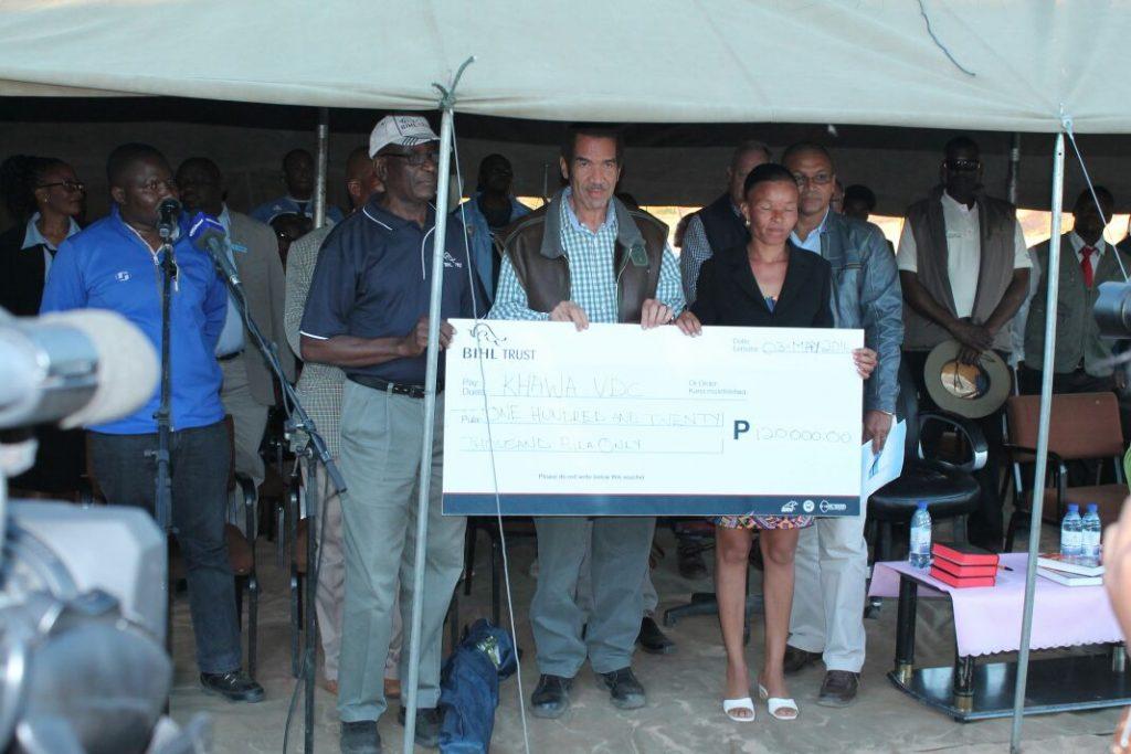His Excellency Lieutenant General Dr. Seretse Khama Ian Khama, President of the Republic of Botswana receives donation from BIHL Trust in Khawa